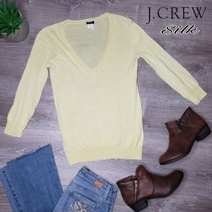 J. Crew silk blend yellow 3/4 sleeve light sweater